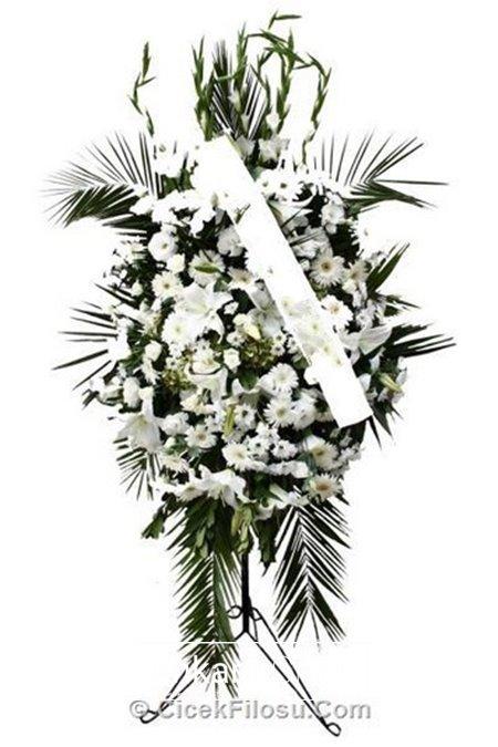 Ayaklı ferforje  beyaz  çiçekler
