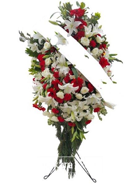 Kırmızı  Beyaz Çiçek Ferforje